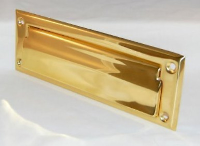 "Solid Brass 13"" x 3.75"" Mail Letter Slot - Eternity Door Polished Brass Finish"