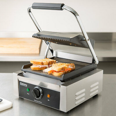 Single Electric Cast Iron Panini Sandwich Grill with Grooved Top & Smooth Bottom