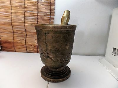 Antique Brass Mortar And Pestle Early 1900s