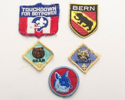 Lot of 5 Vintage BSA Boy Scouts of America Embroidered Patches Bern Wolf Bear