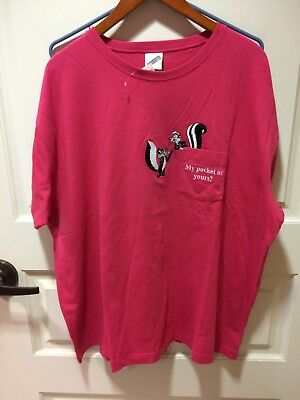 NWT Pink Warner Bros. Embroidered PePe Le Pew Size XXL