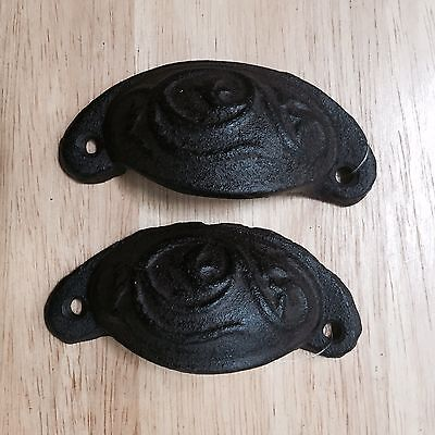 Cast Iron Set Of 4 Drawer Pulls NEW Bin Pull
