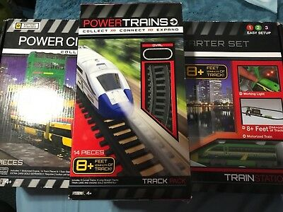 POWER CITY TRAINS Starter Set - Train Station + 8 ft - 14 pieces  Track Pack