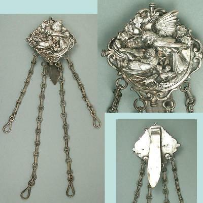 Exceptional Antique Silver Plated Birds Chatelaine w/ 4 Chains * Circa 1890s