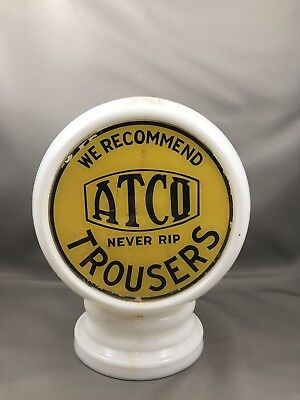 Vintage Atco Trousers Clothing Shoe Milk Glass Globe Display Sign Gas Oil