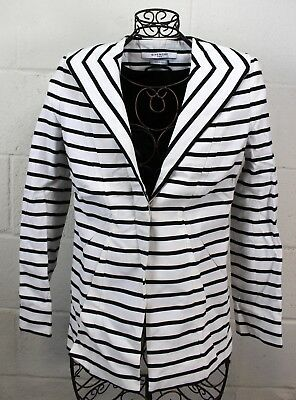 GIVENCHY Black White Stripe Tailored Patent Shoulder Blazer Jacket 36 4 Italy