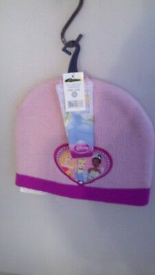 Girls One Size Winter Hat With Disney Princess On It Pink & Purple A-1