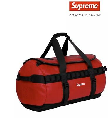 0d976fe61 SUPREME THE NORTH Face Leather Base Camp Duffel Bag Red TNF FW17 Brand New  Ltd