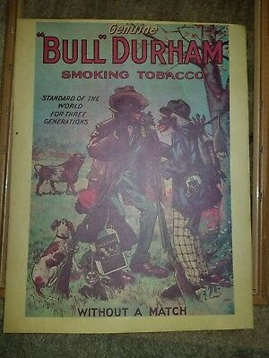 Black Americana Bull Durham Smoking Tobacco Without A Match Ad Print Double Side