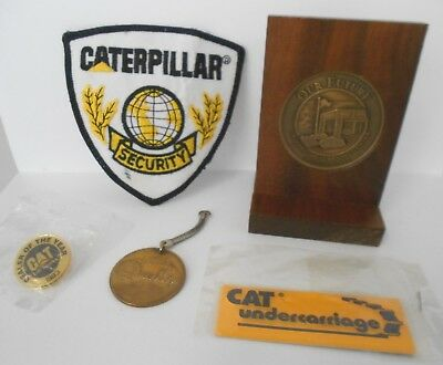 5 Caterpillar Items Wood Plaque-1993 Dealer Pin-Magnet and Security Patch Used