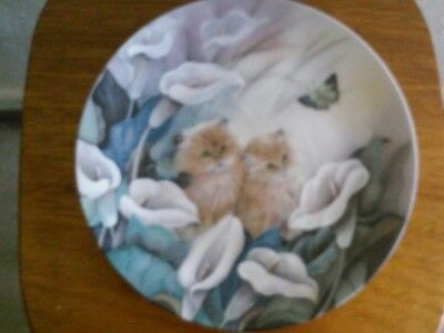 "W S George ""Alluring Lillies"" by Lilly Chang Petal Pals Cat Collector Plate"