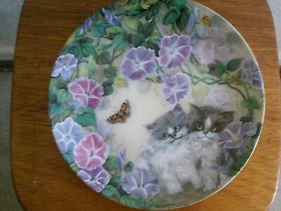 "W S George ""Morning Melody"" by Lilly Chang Petal Pals Cat Collector Plate"