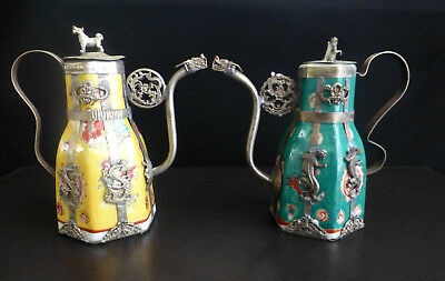 Pairs of Vintage Chinese Famille Porcelain Vase Decorated by Silver
