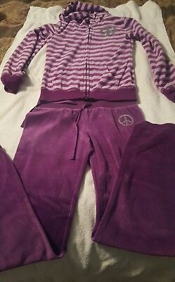 Girls size 10/12 2-piece purple outfit with silver sequinned peace signs