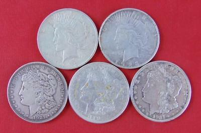 Morgan Silver Dollar, Peace Silver Dollar, Bullion Silver, Silver Dollar, 5 Lot