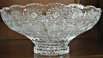 """Bohemian Czech Vintage Crystal 6"""" Round Bowl Hand Cut Queen Lace 24% Lead Glass"""