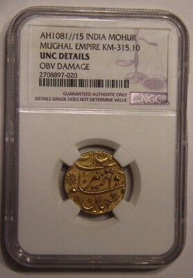 Mohur AH1081 15 India Mughal Empire UNC Details Gold