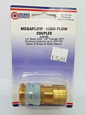 "Coilhose Pneumatics 110-DL 1/4"" BS, 1/4"" F, 225 PSI Megaflow - High Flow Coupler"