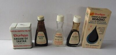 4 Vintage Durkee Glass Bottle Flavorings & 1 Metal Spice Tin