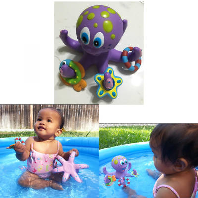 Octopus Hoopla w/ 3 Ring Bath-time Fun Floating Toys Purple Christmas Gift Kids