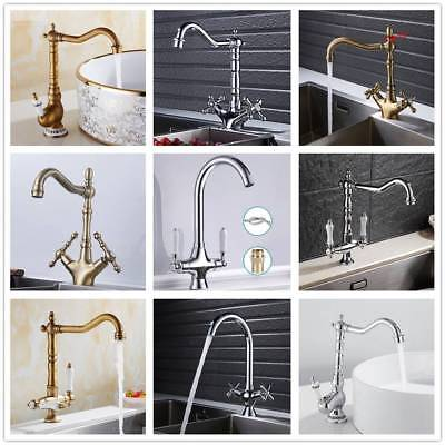 Traditional Kitchen Sink Mixer Taps Twin Lever Solid Brass Monobloc Basin Faucet