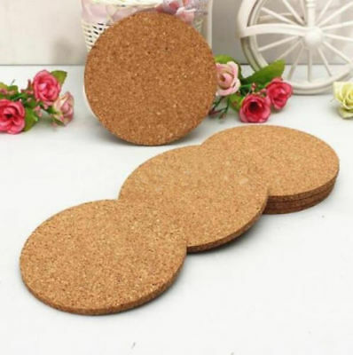 6x Round Cork Coasters Drink Placemats Plain Coffee Wine Cup Mat Tea Craft Fruga