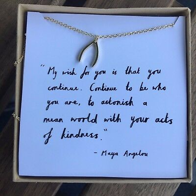 Maya Angelou My Wish For You Wishbone Gold Dipped 16 Necklace