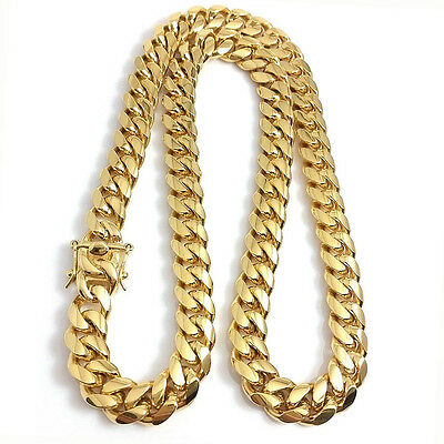 Stainless Steel 18K Gold Plated Miami Cuban Link Chain Necklace Curb Jewelry Men