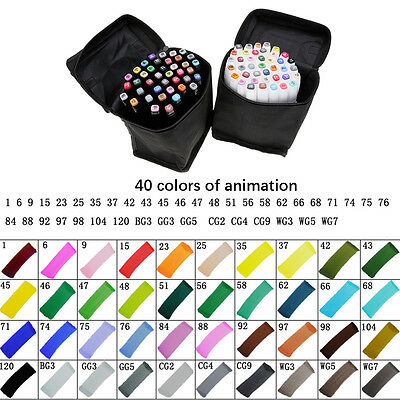 40 Colors Alcohol Graphic Art Twin Pen Marker Broad Fine Point Tip+Storage Pouch