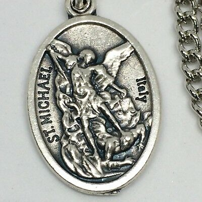 St Michael Guardian Angel Necklace 27 inch Stainless Steel Chain