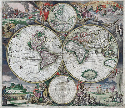 Giant Vintage Historic 1689 Old World Copper Plate Map Antique Style Art Print