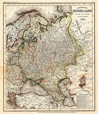 Giant 1851 VINTAGE HISTORIC Map of Russia antique Old World Fine Art Print