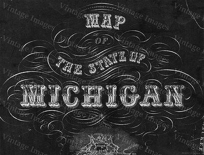 GIANT 1856 Old Map of MICHIGAN, OLD STATE MICHIGAN, MICHIGAN WALL MAP BLUEPRINT