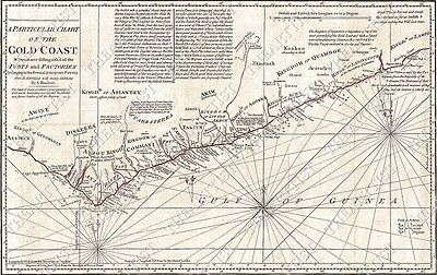 1794 GIANT Africa Kingdoms Gold Coast WALL MAP CHART W FORTS FACTORIES D'ANVILLE