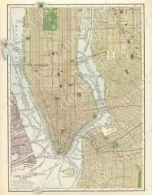 GIANT VINTAGE historic 1910 NEW YORK CITY NYC OLD ANTIQUE STYLE STREET MAP PRINT