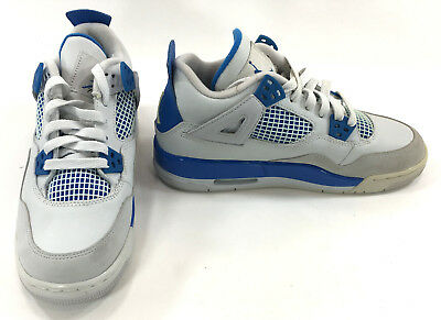 c2e7f43e88e08 NIKE SHOES AIR Jordan 4 Retro White/Blue Sneakers Mismatch 5.5/5 Womens  7.7/7