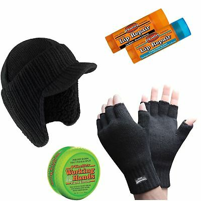 Gloves Bobby Hat Thermal Thinsulate Fingerless Winter Warm Woolly Mitts Cold