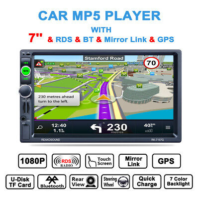 """1080P 7"""" 2 Din Car GPS Navigation Bluetooth MP5 AM/FM/RDS Radio Player With Map"""