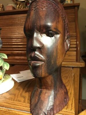 """9 1/2"""" vintage hand carved solid wood African Man Bust/Statue - very heavy"""