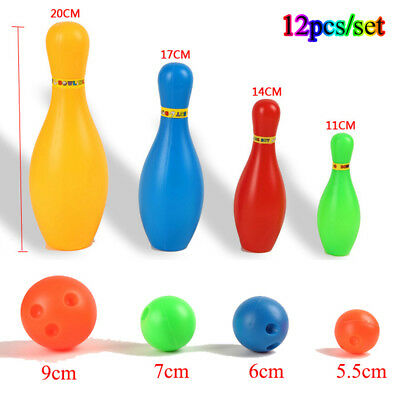 12 X/set Hot Colorful Plastic Bowling Set Mini Leisure Outdoor Sport Toy