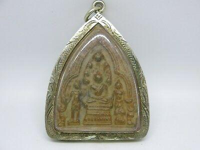 Buddha pendant amulet Antique Ayutthaya Thai brown wood clay dragon silver case