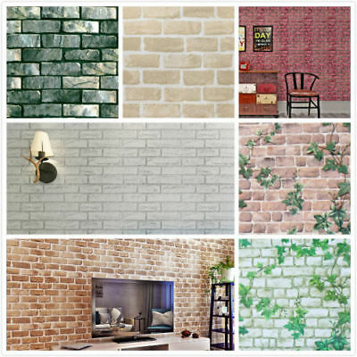 Self Adhesive Vinyl Roll Brick Pattern Furniture Floor Wall Table Contact Paper