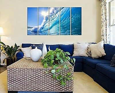5 Piece Large Sea Ocean Waves Canvas Wall Art Print Decor for Home Living Room