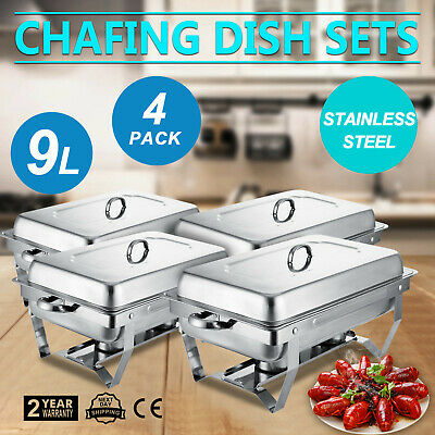 4x Réchaud Dish 9 litres Chafing Dish Nourriture Acier Inoxydable Warmhalte