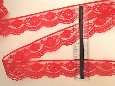 3 metres x 40 mm wide pretty red lace trim