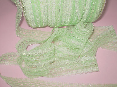 """Eyelet/knitting in/ coathanger lace 10 metres x 3.5 wide """"Green Opal"""" colour"""