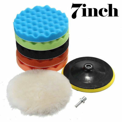 "7Pcs 7"" Sponge Polishing Waxing Buffing Pads Kit Set Compound For Auto Car"