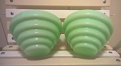 2 x Antique 30s Art Deco Beehive Green Diana Light Shade - Old Vintage Lamp