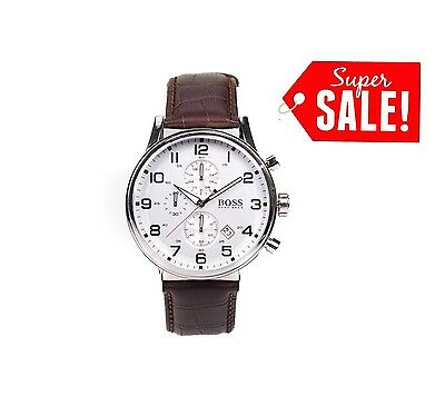 New Hugo Boss Brown Leather Strap Classic Hb1512447 Chronograph Men's Watch Gift