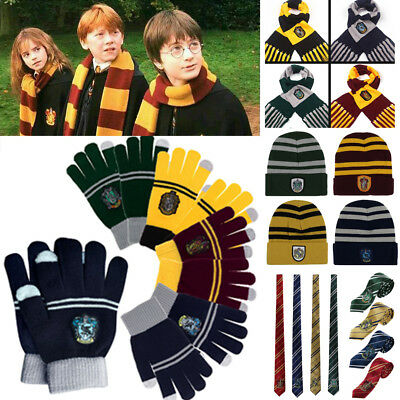 Hot Harry Potter Scarf Tie Hat Gryffindor Slytherin Hufflepuff Ravenclaw Cosplay